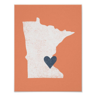 Minnesota Heart poster (white) - Customizable!