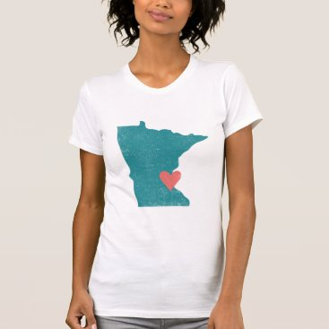 Valentines Themed Minnesota Heart shirt (turquoise) - Customizable!