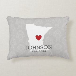 Minnesota Home State City Map - Custom Wedding Accent Pillow
