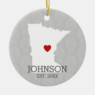 Minnesota Home State City Map - Custom Wedding Double-Sided Ceramic Round Christmas Ornament