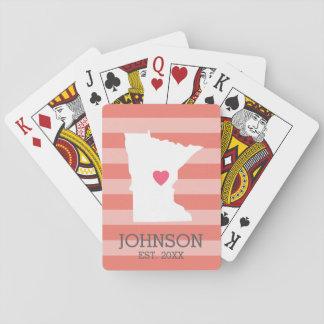 Minnesota Home State City Map - Custom Wedding Poker Cards