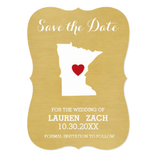 Minnesota Home State City Wedding Save the Date Card