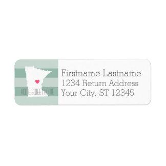 Minnesota Home State Love with Custom Heart Label