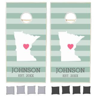 Minnesota Home State Love with Optinal Heart Cornhole Set