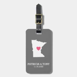 Minnesota Home State Love with Optinal Heart Luggage Tag