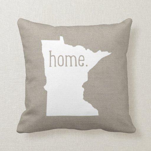 Throw Pillow That Says Home : Minnesota Home State Throw Pillow Zazzle