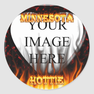 Minnesota Hottie fire and red marble heart. Round Sticker