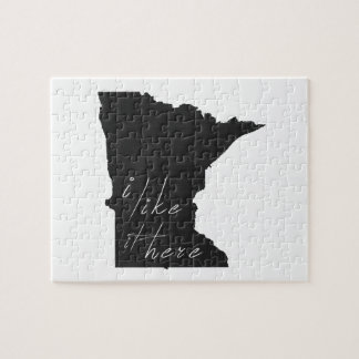 Minnesota I Like It Here State Silhouette Black Jigsaw Puzzle