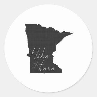 Minnesota I Like It Here State Silhouette Black Round Sticker
