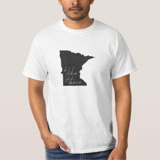 Minnesota I Like It Here State Silhouette Black T-shirt