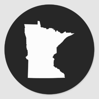 Minnesota in White and Black Classic Round Sticker