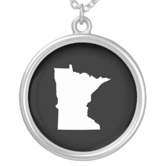 Minnesota in White and Black Round Pendant Necklace