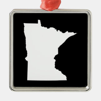 Minnesota in White and Black Christmas Tree Ornaments