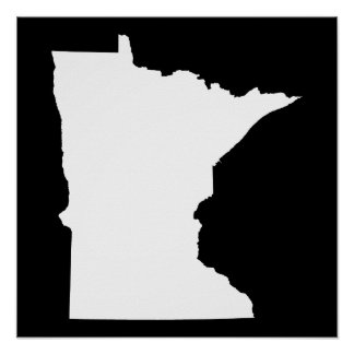 Minnesota in White and Black Poster