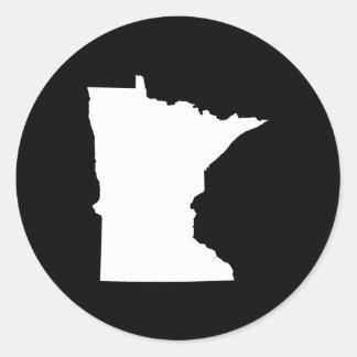 Minnesota in White and Black Round Sticker