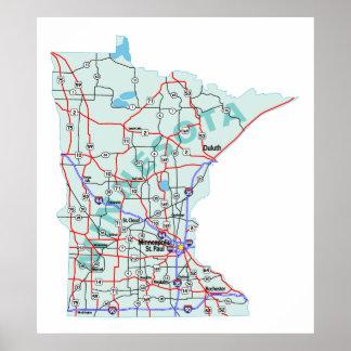 Minnesota Interstate Map Print