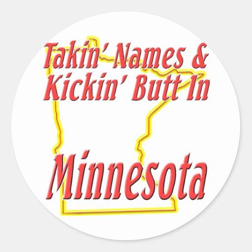Minnesota - Kickin' Butt Classic Round Sticker