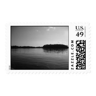 Minnesota Lake Landscape Black White Postage Stamp