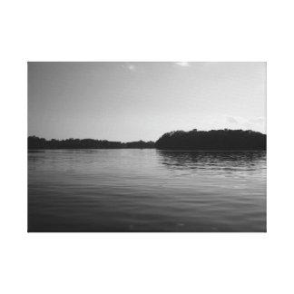 Minnesota Lake Landscape Photography Black White Canvas Print