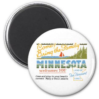 Minnesota - Land of Ten Thousand Lakes 2 Inch Round Magnet
