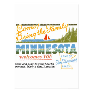 Land of ten thousand lakes gifts on zazzle minnesota land of ten thousand lakes postcard reheart Images