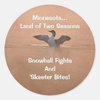 Minnesota...Land of Two Seasons Classic Round Sticker