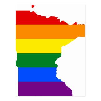 Minnesota LGBT Flag Map Postcard