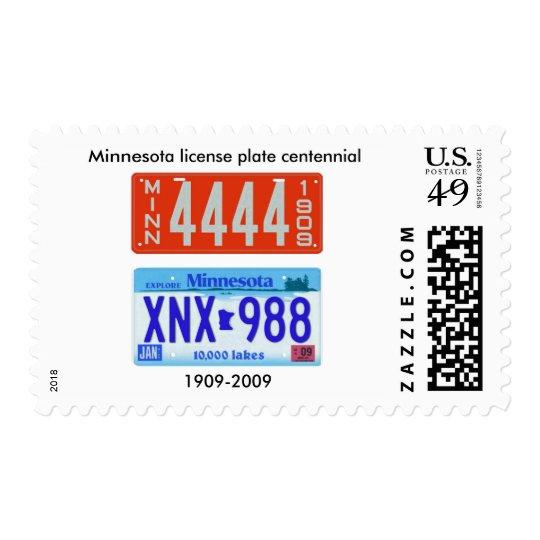 Minnesota license plate centennial postage