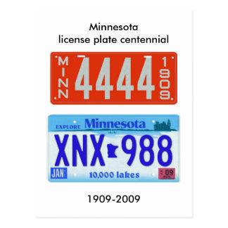 Minnesota license plate centennial postcard
