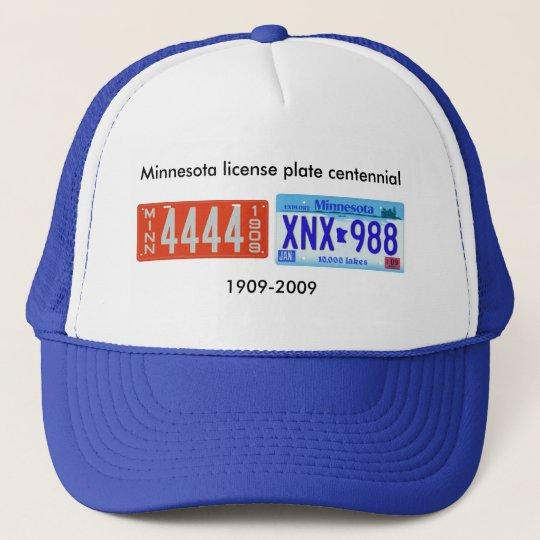 Minnesota license plate centennial trucker hat
