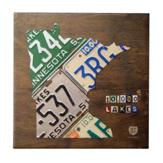Minnesota License Plate Map Ceramic Tile