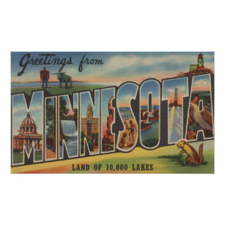 Minnesota Lighthouse - Large Letter Scenes Print