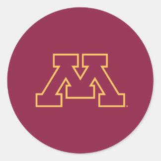 Minnesota M marrón Pegatina Redonda