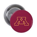 Minnesota M marrón Pin Redondo De 2 Pulgadas