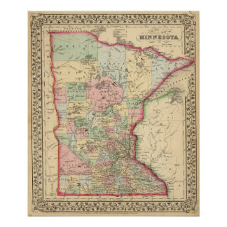 Minnesota Map by Mitchell Poster