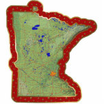 "Minnesota Map Christmas Ornament Cut Out<br><div class=""desc"">This acrylic ornament shaped from a relief map of Minnesota surrounded by festive trim will add novel Minnesotan flair to your seasonal decorations. Also available as a pin,  magnet or keychain. 