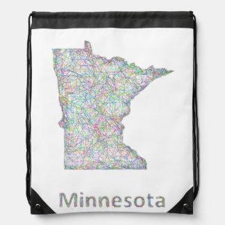 Minnesota map drawstring backpack