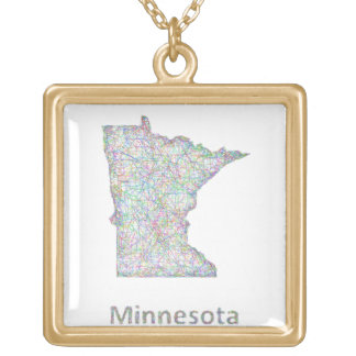 Minnesota map gold plated necklace