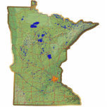 """Minnesota Map Magnet Cut Out<br><div class=""""desc"""">This magnet,  shaped like the state of Minnesota,  displays a relief map of the state surrounded by a gold effect border. Minnesotan decor for your fridge.  Map derived from images at nationalatlas.gov.</div>"""
