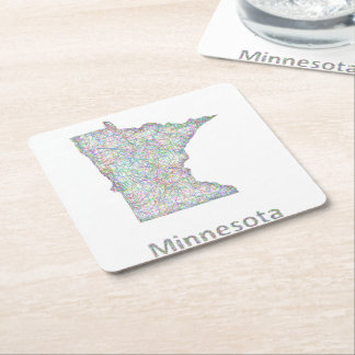Minnesota map square paper coaster