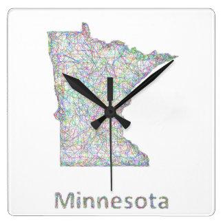 Minnesota map square wall clock
