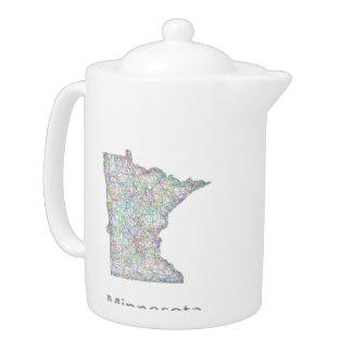 Minnesota map teapot
