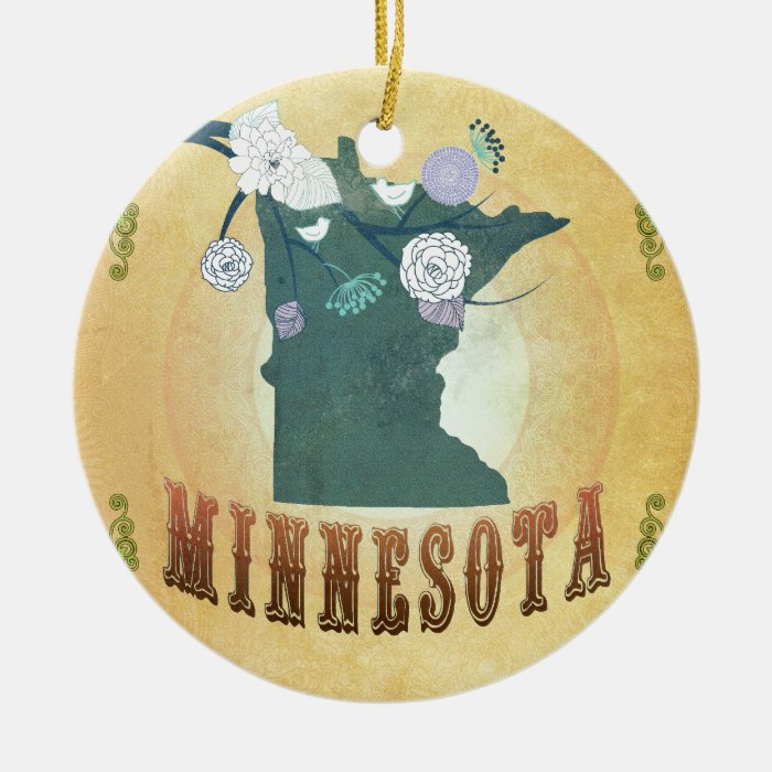 Minnesota Map With Lovely Birds Ceramic Ornament