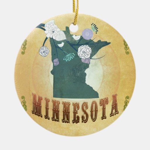 Minnesota Map With Lovely Birds Double-Sided Ceramic Round Christmas Ornament