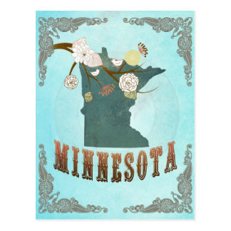 Minnesota Map With Lovely Birds Postcard