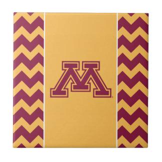 Minnesota Maroon and Gold M Ceramic Tile