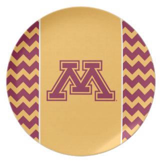 Minnesota Maroon and Gold M Melamine Plate