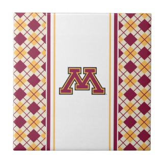 Minnesota Maroon & Gold M Ceramic Tile