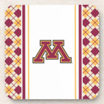 Minnesota Maroon & Gold Stroke M Beverage Coaster