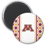 Minnesota Maroon & Gold Stroke M 2 Inch Round Magnet